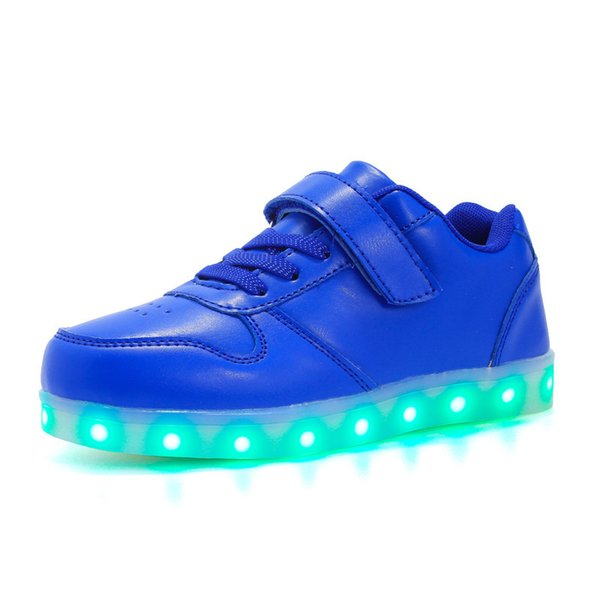 2018 USB Charging Led luminous Shoes For Boys girls Fashion Light Up Casual kids Sole Glowing Children Sneakers Free shipping Y18110304