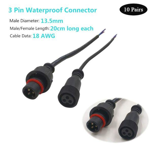 5 Paires IP65 2 Pin 18AWG DEL Bandes Hommes Femmes Imperméable Câble Connecteurs