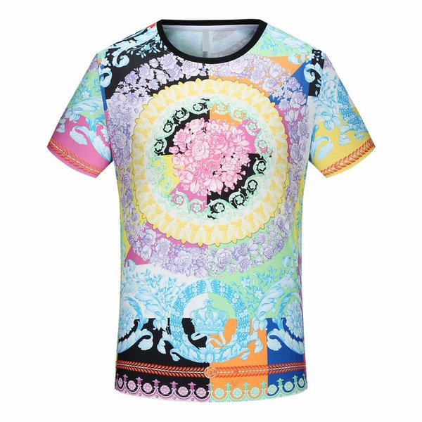Popular new summer street popular logo casual fashion men's high-quality yarn pattern printed t-shirts