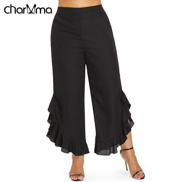 9326b012b49 Women s Pants Fashion Plus Size High Waist Ruffle Wide Leg Capri Pants Women  Black Flare Trousers