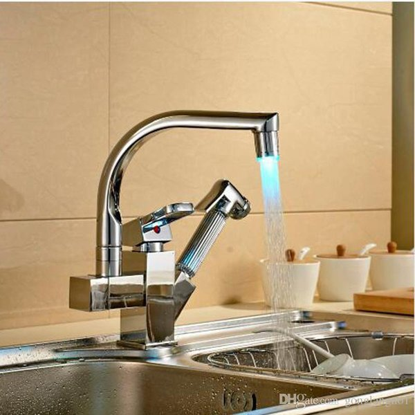 LED Swivel Spout Kitchen Sink Faucet Pull Out Hand Spray One Hole Mixer Tap