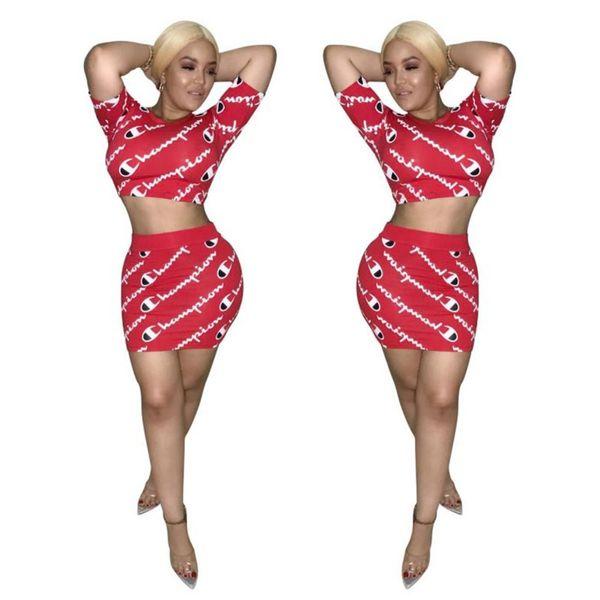 Women Champions Letter Tracksuit Short Sleeve T Shirt Crop Top + Skirt Dress 2PCS Set Summer T-shirt Outfit CHAMPI Sportswear Suit Clothes