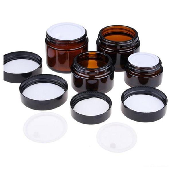 5g 10g 15g 20g 30g 50g 100g Amber Brown Glass Crema Facial Tarro Recargable Botella Redonda Cosmética Maquillaje Loción Recipiente de almacenamiento Tarro