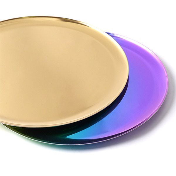 Ins Round Tray Stainless Steel Tray 11 Inches Colorful Display Tray Storage Serving Plate Gold Rainbow