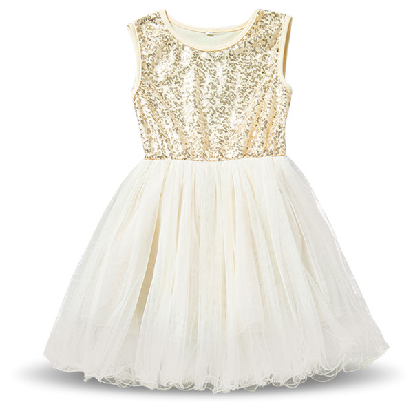 New Baby Kids Girl Princess Sequins Toddler Tulle Lace Tutu Party Dress Beige M/&