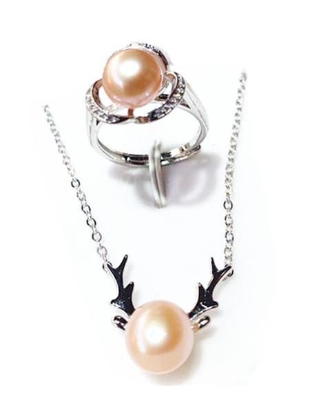 LETSFUN de agua dulce natural 9-10mm Juegos con perlas Pendientes de ciervos Elk cadena del collar del aro 925 sistemas de plata de ley pendientes