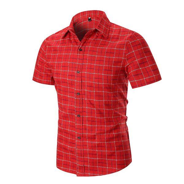 Casual Mens Chemises Chemises Eté Blouse Hommes Vêtements New Camisa social 2019 Chemise à carreaux Lin à manches courtes Noir rouge gris