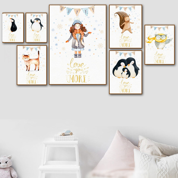 Watercolor Cartoon Girl Owl Squirrel Penguin Cat Nordic Posters And Prints Wall Art Canvas Painting Wall Picture Kids Room Decor