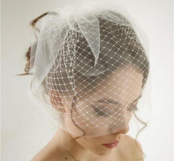 Çift Katmanlı Birdcage Düğün Veil Gelin Aksesuarları Beyaz / Fildişi Mesh Kısa Düğün kuş kafesi Veils Yüz Örtüleri