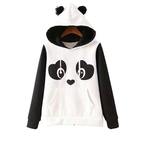 S -3xl Cute Cotton Blended Frauen Panda Fleece Pullover Hoodie Sweatshirts Mit Kapuze Mantel Tops Heiß