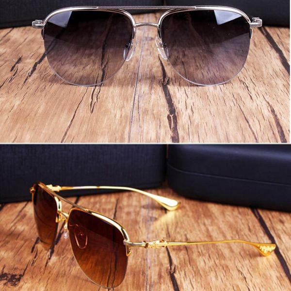 Nuovi occhiali da sole cromati Occhiali da sole polarizzati da uomo Moda Occhiali da sole con montatura in metallo Occhiali da sole oversize per il brand del brand con custodia originale