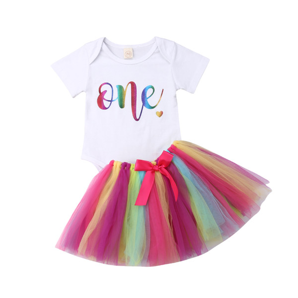 2019 Newborn Baby Girls Birthday Clothes Set White Letter Romper+Rainbow Tutu Skirt Popular 2pcs Casual Outfits