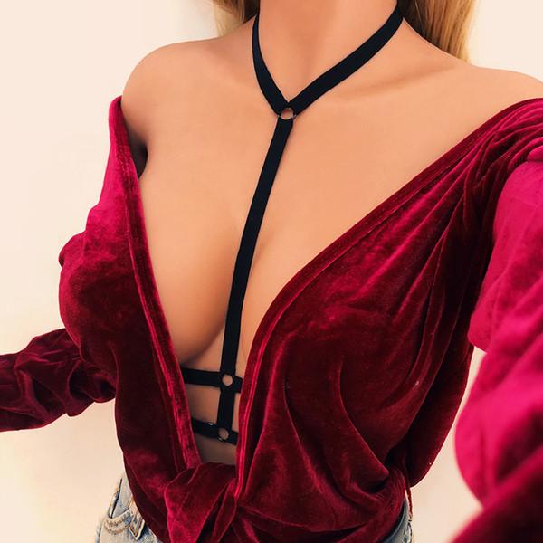 Évider Femmes Gothique Sexy Cage Élastique Crop Top Soutiens-gorge Érotique Lingerie Bretelles Soutien-Gorge Bustier Bandage Soutien-Gorge Harnais Noir