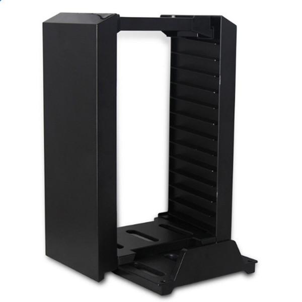 Yüksek kaliteli PS4 Çok Fonksiyonlu Depolama Standı Kiti-Alaşım Oyun Disk Depolama Kulesi Holding için 12 Oyunlar / DVDS / Blu-Ray ile Konsol Standı