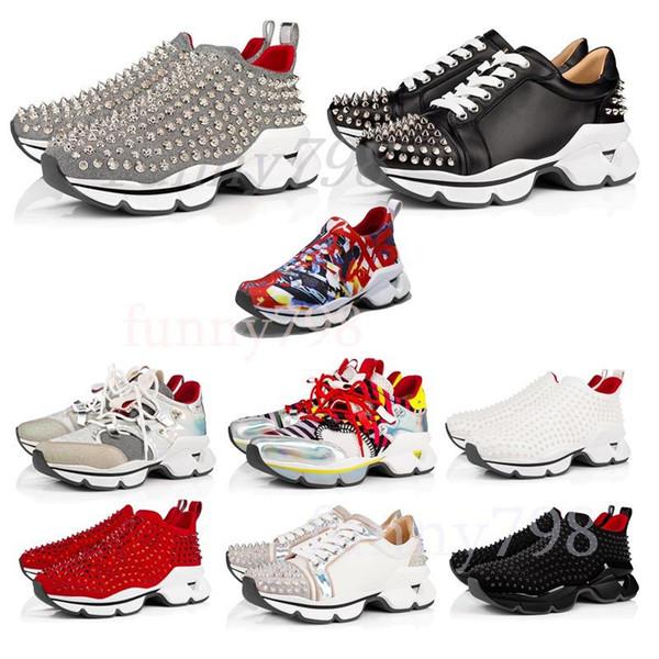 Homens e mulheres Unisex Shoes Melhor Red inferior Personalidade Sneakers Alta Parte sola de couro High Top Studded Spikes Designer Shoes Sneakers