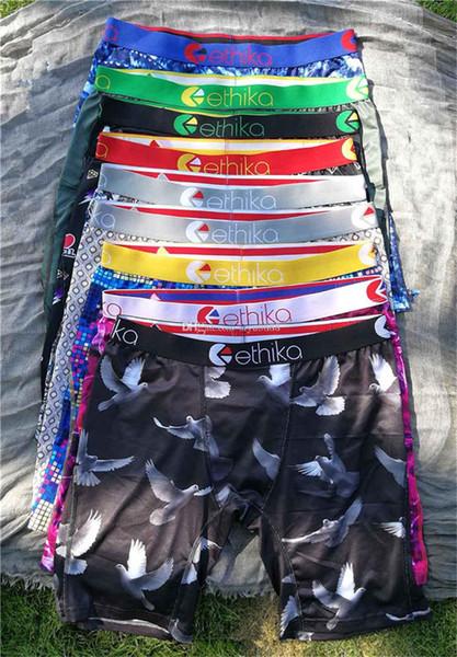 top popular 100% Cotton Ethika Breathable Men Underwears Soft Mens Boxers Brief Letter Underpants For Men Sexy Male Shorts Boxer beach pants Quick Dry 2021