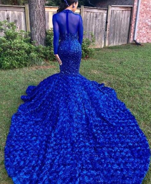 Black Girls sexy Mermaid Abiti da ballo lunghi Royal Blue Maniche lunghe con gonne floreali 3D Appliques in rilievo perline Abiti da sera party formali