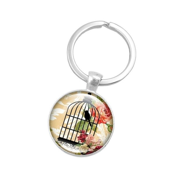 2019 new birdcage crystal keychain, cabochon glass pendant keychain, canary in the bird cage picture alloy keychain, beautiful rose pendant,