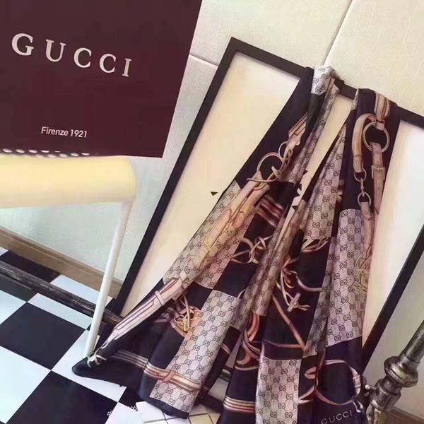 Nouveau 2019 bonne qualité Classic European Design marques de femmes Imprimé Foulard en soie Elegant Ladies Wrap foulards taille 180x90cm. livraison gratuite
