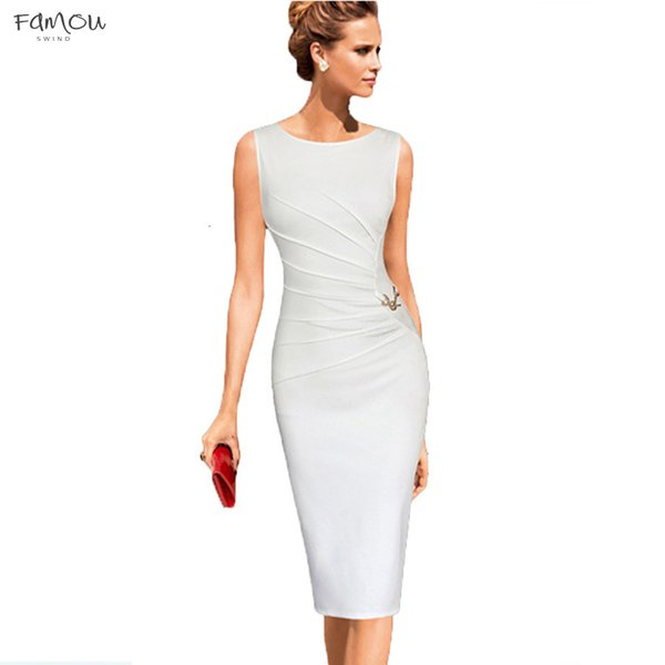 Elegant 4Xl Plus Size Ruched Metal Trim Pencil Dress Women Party Work Solid  Color Sleveless Sheath Bodycon Vestidos White Prom Dress Girl Dress From ...