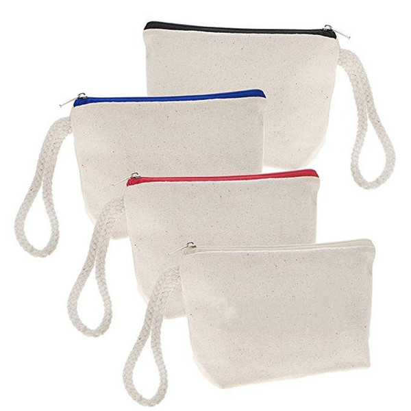 High quality blank canvas zipper pouches cotton cosmetic Bags makeup bags Mobile phone bag With Rope