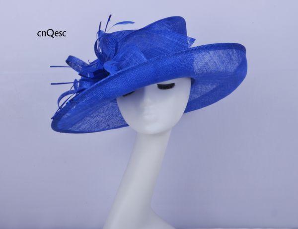 2019 королевский синий большой край женская синамайская шляпа дамы вечернее платье шляпа церковная шляпа для свадьбы свадебный душ мать невесты ж / перо цветок
