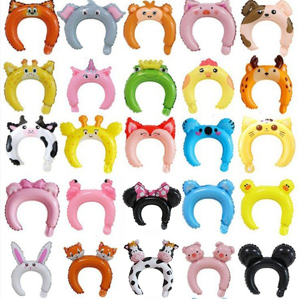 top popular Multicolor Lovely Animal Balloon Head Bands Cartoon Aluminum film Balloons Hairbands for Birthday Wedding Party Decoration Kids Toys C2110 2021