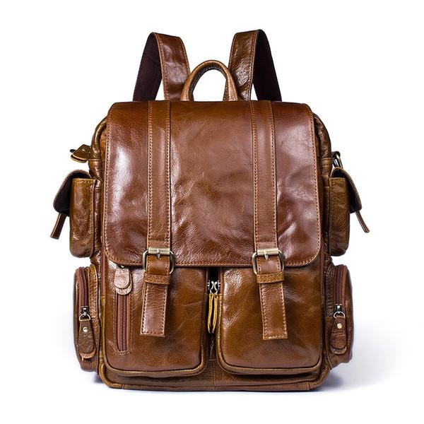 High Qaulity Men Backpack Cowhide Genuine Leather Vintage Daypack Travel Casual School Book Bags Brand Male Laptop Bags Rucksack
