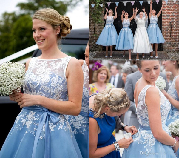 Puffy A Line Organza Curto Vestidos Dama de Honra Coberto rendas Top Light BLUE fita arco SASH Chá Comprimento Festa De Casamento Vestido de Colher Vestidos