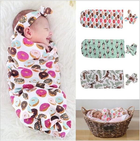 INS Baby Sleeping Bag + Headband 2 Pieces Set Cartoon Animal Deer Bear Floral Pineapple Printed Infant Newborn Sleeping Bag Wrapped A4110