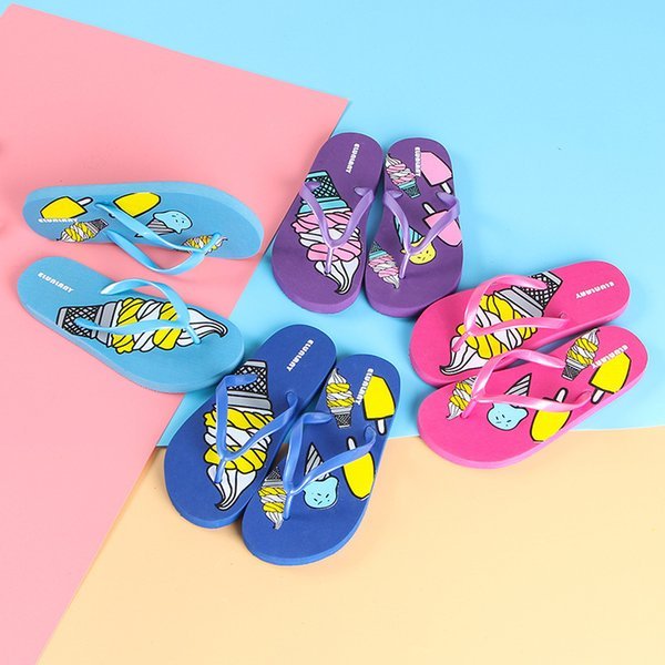 HOT 3 Styles Multi Color Children Slippers Ice Cream Jellyfish Strawberry Summer Flip Flops Non-slip Kids Fashion Teenager Boys Girls