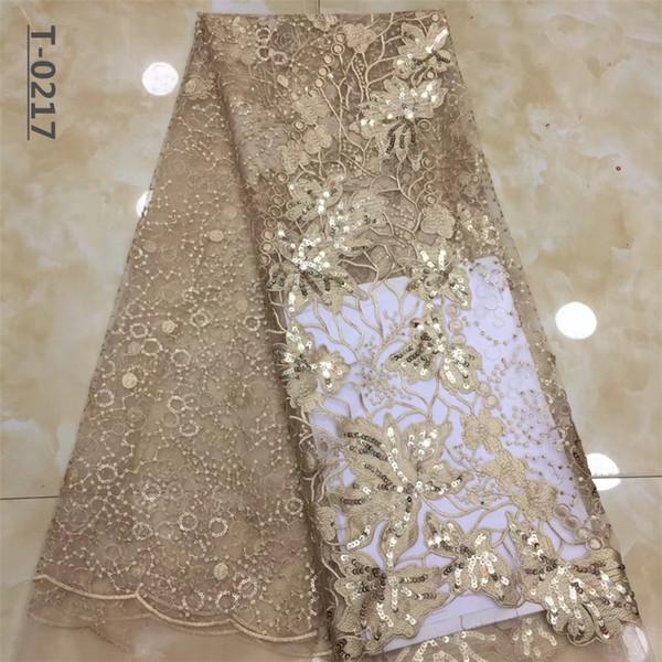 Ultime tessuto del merletto tessuto di maglia del merletto African Fashion Paillettes Tulle di alta qualità francese ricamo netto per la donna Party Dress