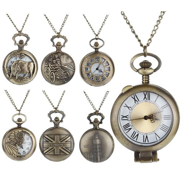 Retro Design Personalized Pattern Steampunk Vintage Quartz Roman Numerals Hollow Pocket Watch clock relogio Gift Dropshipping