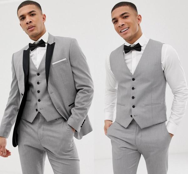 Custom Grey Mens Suits Black Lapel Slim Fit Wedding Suits For Groom /  Groomsmen Prom Casual Suits Jacket+Pants+Vest+Bow Suits For Wedding Groom  Tux