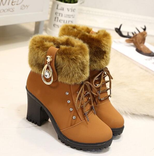 Avustralya Kış ayakkabı kadın patik artı kadife sonbahar ve kış yeni vahşi kalın topuklu Martin botları kürk kar botları ücretsiz kargo