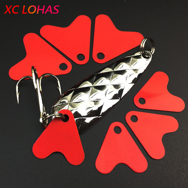 diy fishing 100 pcs/pack Heart Shape Red Plastic Fish Tails for Metal Spoon Lures 21mm 16mm DIY Fishing Accessories