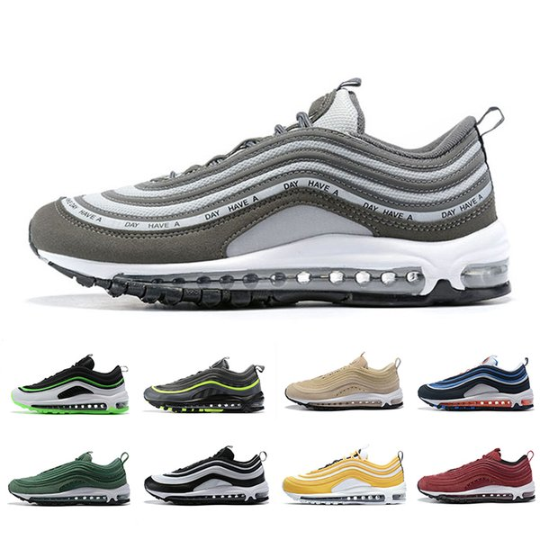 Compre Nike Air Max 97 Have A Nike Day Men Women Running Shoes Black UL Dallas Laser Orange Neon Seoul Mens Panda Pigeon Sporst Trainer Sneakers 36 45