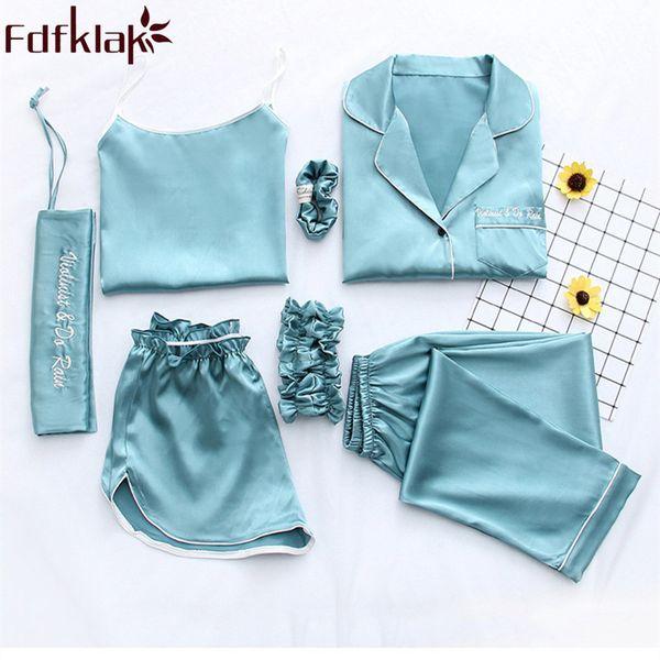 Fdfklak Home Clothes Sexy Pijama 7 Pieces Silk Pajamas For Night Suit Sleepwear Sets Pyjamas Women Spring Summer Q1047 Q190420