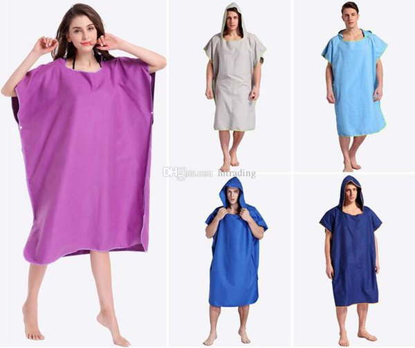 Solid colors Beach Bathrobe Coat Beach Towel Robes Unisex Hooded bathrobes Blanket Outdoor Cloak Cape Easy for Changing Clothes C6715