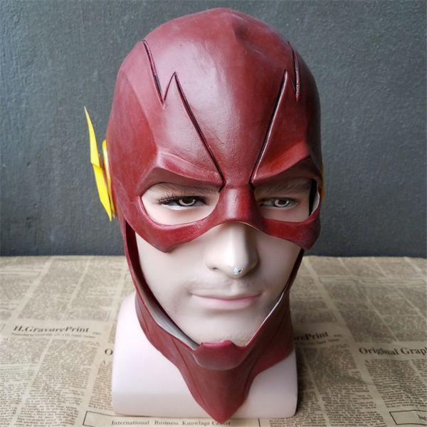Adult Latex The Flash Mask Cosplay Helmet Red Full Head Mask Halloween Helmet Prop Movie Costume Fancy Party Carnival DC Comic