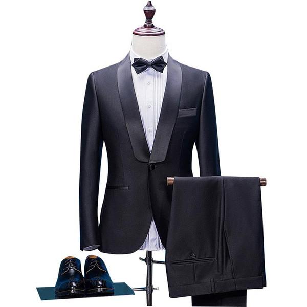 Acquista Abito Da Uomo Di Alta Moda Maschile Di Fascia Alta Vestito Nero A Due Pezzi Giacca + Pantaloni Abito Da Sposo Dello Sposo A $113.57 Dal