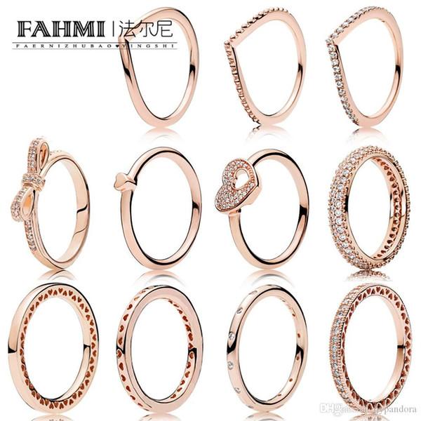 Фахми 100% 925 стерлингового серебра Charm Rose Gold Series Блестящий сердце Капельки кольца Лук головоломки Сердце кольцо женщин ювелирные изделия кольца пара