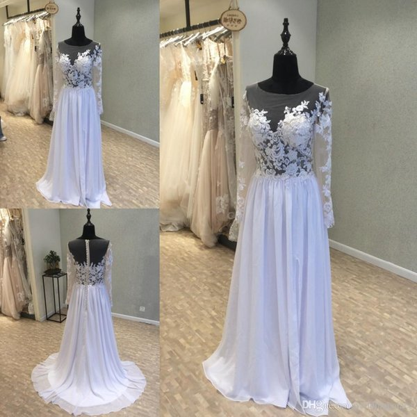 Boat Neck Long Chiffon Wedding Dresses with Appliqued Illusion Bodice Long Sleeves Floor-length Button Back Lace Beach Bridal Wedding Gowns