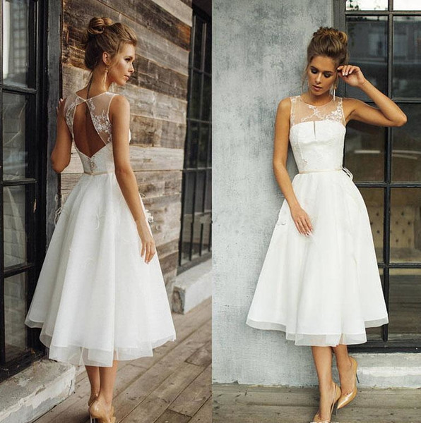 Discount Vintage Short Engagement A Line Wedding Dresses Sheer Jewel Tea Length Backless Bridal Gowns Beach Bride Dress Custom Made Robe De Marriage