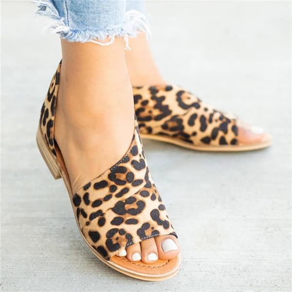Verão Sapatos de Salto Baixo Mulheres Sandálias Peep Toe Leopardo Casuais Mulheres Sapatos de Salto Cobertura PU Sandálias Das Senhoras