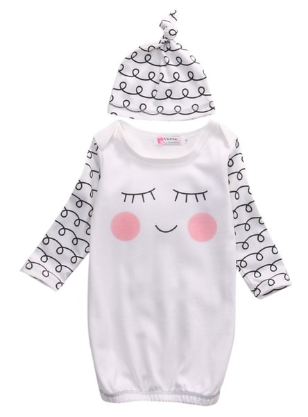 2019 Hot Cut Newborn Baby Clothes Sleepy Eyes and Rosy Cheeks Baby Gown Hat Infant Newborn Coming Home Sleepwear Sleeping Bags