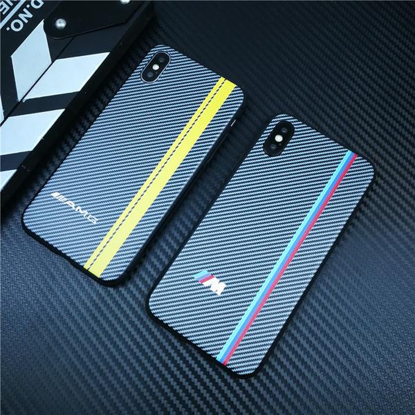 cas de couverture de téléphone de luxe de fibre de carbone de sports de moteur pour l'iphone XS XS MAX de XR 8 7 6 6S plus de silicone mat AMG coque de voiture 8plus 7 plus