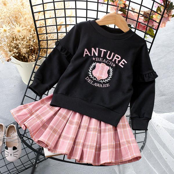 Designer Logo Vestiti da bambina Vestiti da bambino Vestito elegante Lettera stampata Abito a maniche lunghe Plaid Top Logo di lusso Abbigliamento da bambina