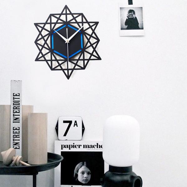 Creative Geometric Wall Clock Big Wood Polygon 3d Wall Clock Modern Living Room Relojes De Pared Home Decoration DD5WC