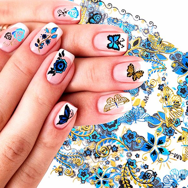 2019 New 24 Sheets 3D Gold Blue Decals Hot Stamping Nail Art Stickers Design Bling Shinning Butterfly Self Adhesive Tattoos Girl
